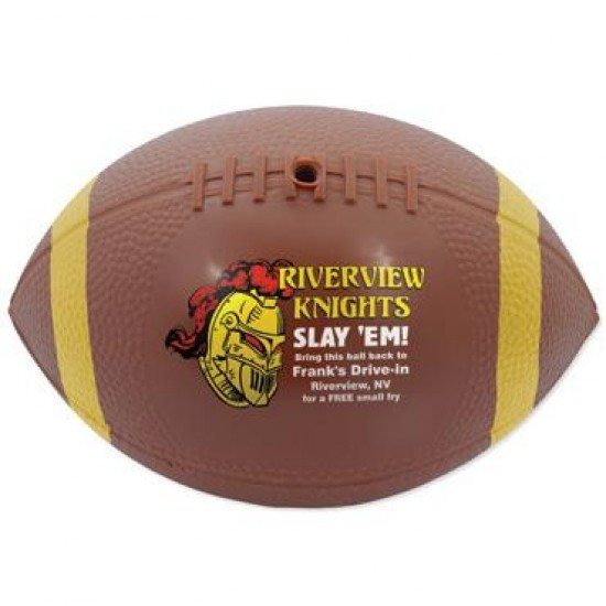 Custom Logo Mini Reinflatable Vinyl Football w/ End Stripes - 7""